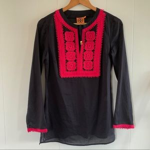 Tory Burch Sheer Embroidered Tunic Tie Top
